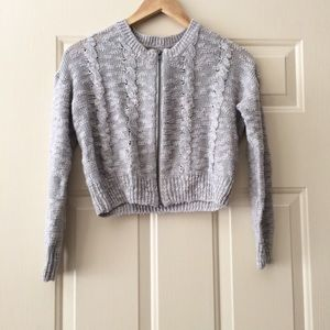 UO Kimchi Blue Cropped Grey Knit Zip-Up Sweater